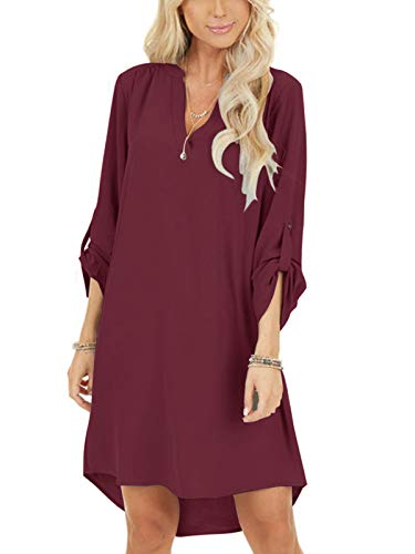 YOINS Damen Kleider Tshirt Kleid Sommerkleid für Damen Brautkleid Langarm Minikleid Kleid Langes Shirt V-Ausschnitt Lose Tunika mit Bowknot Ärmeln Weinrot L