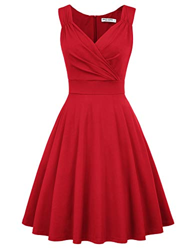 Women's 50s Vintage A-line Dress Knee Length Size S Red CL698-5