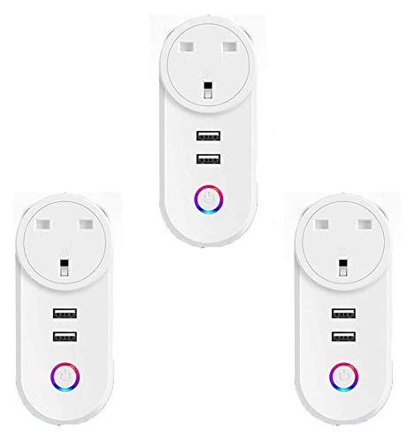 Conector conectado a WiFi, enchufe de zócalo inteligente con 2 puertos USB, compatible con Alexa, control remoto de voz Total de temporizador de control, sin hub requerido (3pcs) (Size : UK)