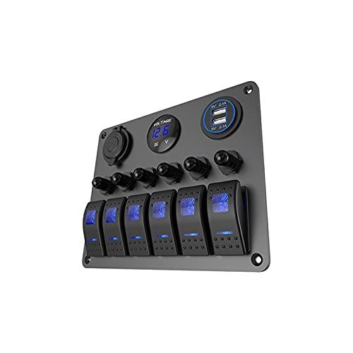 ZHENGJI Panel de interruptores basculantes marinos de 6 pandillas, pantalla LED de voltaje+cargador USB de 5 V 4.2 A+encendedor de cigarrillos apto para camión, barco, coche (color: verde 6 pandillas)