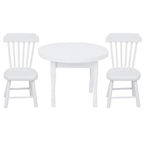 ミニチュアドールハウスアクセサリー環境にやさしいミニチュア家具とアクセサリーミニ家具ドールハウスデコレーションウッド子供のための絶妙な(White round dining table and chair)