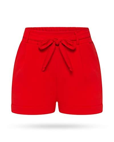 Kendindza Damen Sommer Shorts | Kurze Hose mit Schleife zum binden | Bermuda | Uni-Farben (S/M, Rot)