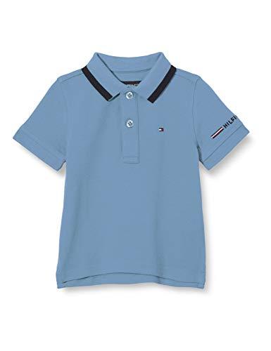 Tommy Hilfiger Global Stripe Tipping Polo S/s Camisa, Vintage Denim, 86 para Hombre