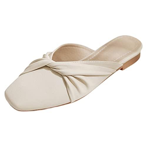 HAQMG Zapatillas De Señoras Mululas Planas para Mujeres, Piso De Punta Cuadrada Cerrada para Damas Fashion Summer Arch Soporte Sandalias Sin Respaldo Sofá Suaves Y Cómodas Zapatos Al Aire Libre