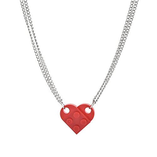 1 paio di collane a forma di cuore con blocco di costruzione a forma di cuore, con cuciture a forma di cuore, ideali per fidanzate e innamorate