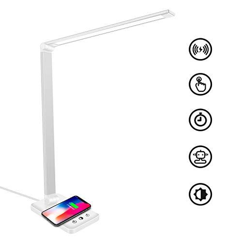 Wilktop LED Schreibtischlampe, Dimmbar Tischlampe 6W Wireless Laden und USB-Ladeanschluss Augenschutz Leselampe, 10 Helligkeitsstufen, 5 Farb Touchfeldbedienung Tischleuchte für Lesen, Büro (Weiß)