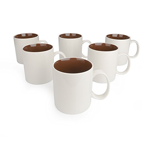 Panbado 6 x Tazas de Café/Té de Porcelana de Blanca y Marrón Tazas de Porcelana, 450 ml (9 * 13,5 * 10,5 cm),Tazas de Agua/Leche para Hogar, Oficina, Fiesta, Regalo para Cumpleaños, Festival