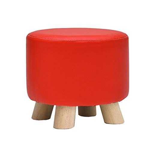 Yxsd Changement de Chaussure Rouge Petit Banc Tabouret Durable Chaise Ronde Repose-Pieds ménage Bois Massif PU canapé Tabouret Maquillage Tabouret Pouf Pouf Repose-Pieds pour Cuisine Salon
