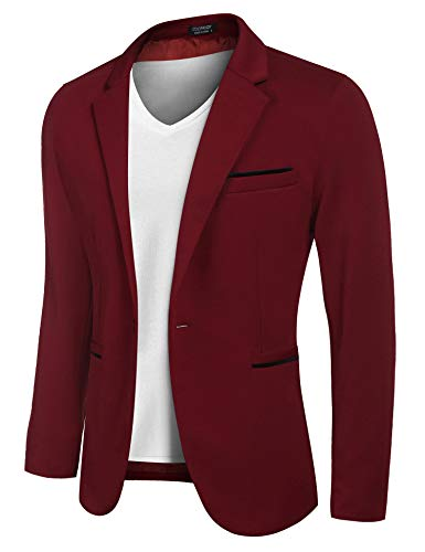 WINTAGE Men's Velvet Two Buttoned Notch Lapel Party Maroon Coat Blazer
