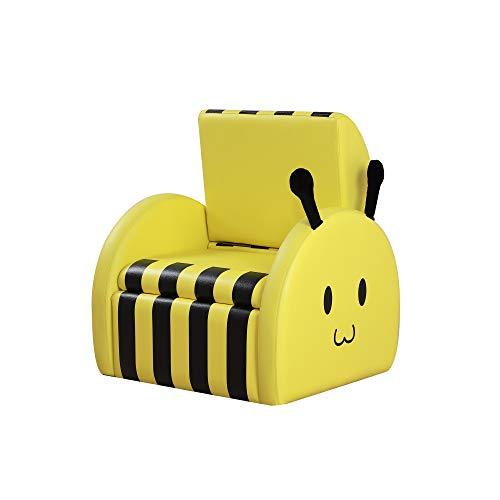 HOMCOM Kindersessel, Kinderzimmer Sofa, Minisessel, bienenförmige Kindersofa, Polstersessel für Kinder, Kindermöbel mit Stauraum, für 3-6 Jahre alt, Gelb, 49 x 44,5 x 36 cm