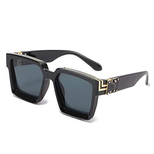 QINGZHOU Gafas de Sol,Gafas de sol de montura grande de tendencia de moda con marcas verdes, gafas de sol modelo, gafas de pasarela de tiro callejero, copos negros y grises brillantes