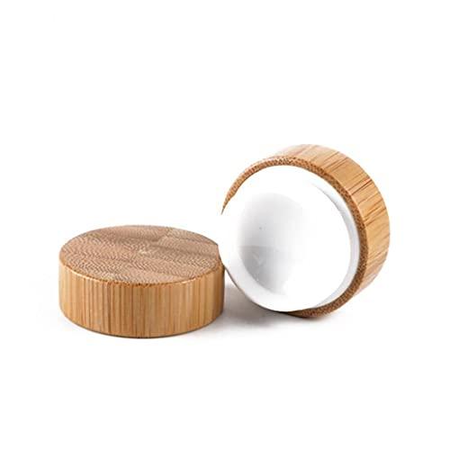 Liadance One Pack Bamboo Cosmetic Contenedor Maquillaje de Madera Muestra Pote Tarro Redondo Recipiente de Crema de Viaje con Tapa de Tapa de Tornillo para Sombra de Ojos, uñas, Polvo, Pintura 50g