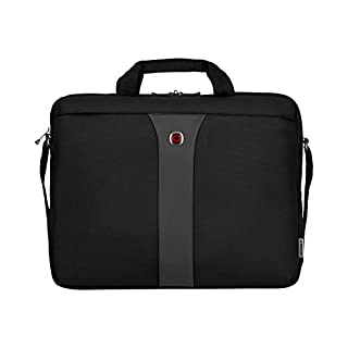 Wenger 600654 LEGACY 17 Inch Laptop Slimcase, Airport-Friendly Laptop Case with iPad/Tablet/eReader Pocket in Black/Grey {12 Litre} (B002N2ZCZG) | Amazon price tracker / tracking, Amazon price history charts, Amazon price watches, Amazon price drop alerts