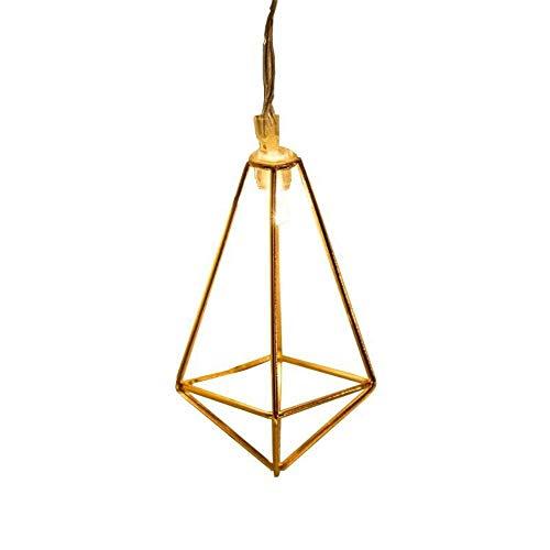 IN Windrose Golddiamant einfache geometrische Eisen LED Lampenketten Nordic dekoratives Licht Lichterketten Lichter fallen zu blinken,Warmweiß,10 Leuchten