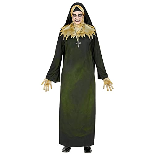 WIDMANN 52269 52269 Disfraz de monja demonia, túnica con capucha con cuello, velo y guantes, cadena, para mujer, multicolor, XXXL
