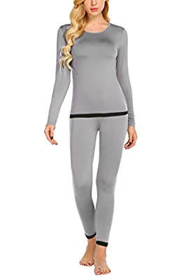 Ekouaer Womens Thermal Underwear Set Long Johns Winter Base Layer Sets (Light Grey S)