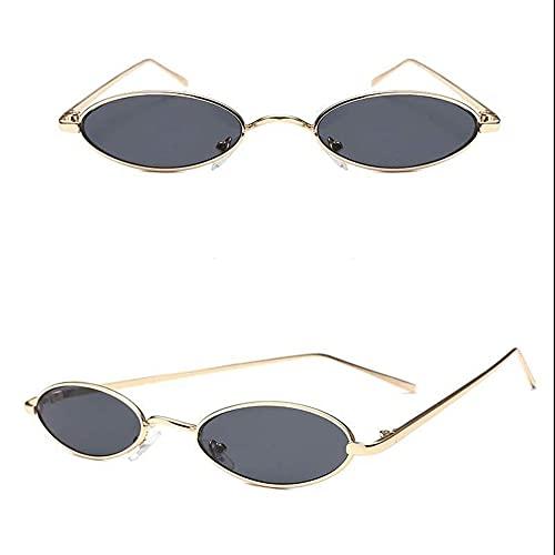 Gafas De Sol Ovaladas Retro De Moda, Steampunk Pequeñas Gafas De Sol De Tono Retro, Moda Para Mujer Gafas Redondas Para Hombres, Marco De Metal Color De Caramelo(Color:Marco dorado copos grises)