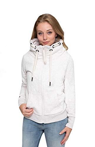 Zhrill Damen Zip Hoodie Kapupzenjacke Sweatjacke Slim Fit Sportlich Lässig Tini, Größe:XS, Farbe:T269 - Ecru Mel