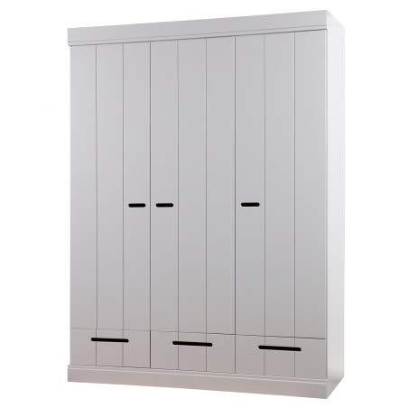 Alfred & Compagnie - Armadio a 3 ante e 3 cassetti, in legno massiccio, colore: Grigio cemento