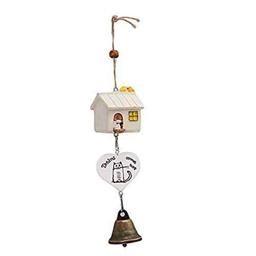 à suspendre Décorations à suspendre Crafts – Ornements Maison d'oiseau Cage Maison Ornement Wind Chimes bébé enfant Cadeau Pastoral à suspendre Décoration – B – 1 x Lovely Birds Wind Chimes Bell blanc