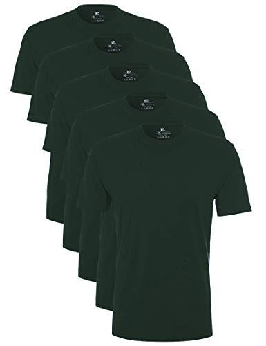 Lower East Herren T-Shirt mit Rundhalsausschnitt, 5er Pack, Grün(Dunkelgrün), XXX-Large