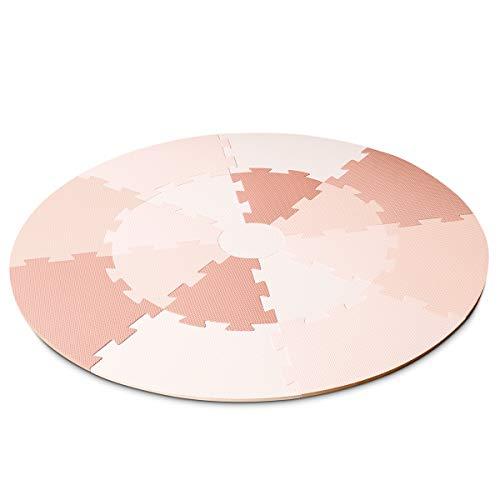 Lalaloom ROSE PLAYMAT - Alfombra infantil para juego (alfombra puzzle para bebe, redonda, con suelo, de espuma EVA para habitación), 120x120x1 cm, color Rosa