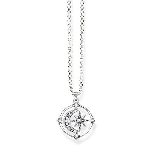THOMAS SABO KE1985-643-14 Women's Necklace Star & Moon Sterling Silver Blackened