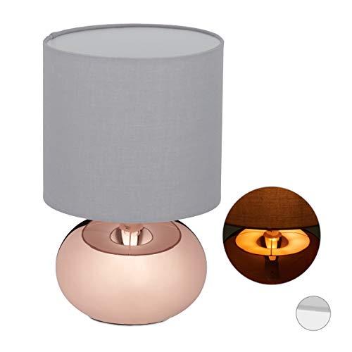Relaxdays Nachttischlampe dimmbar, Moderne Touch Lampe mit 3 Stufen, E14, Tischlampe mit Kabel, 28 x 18 cm, Kupfer