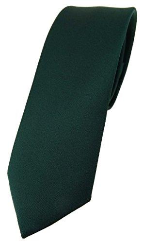 TigerTie schmale Designer Krawatte in dunkelgrün einfarbig Uni - Tie Schlips