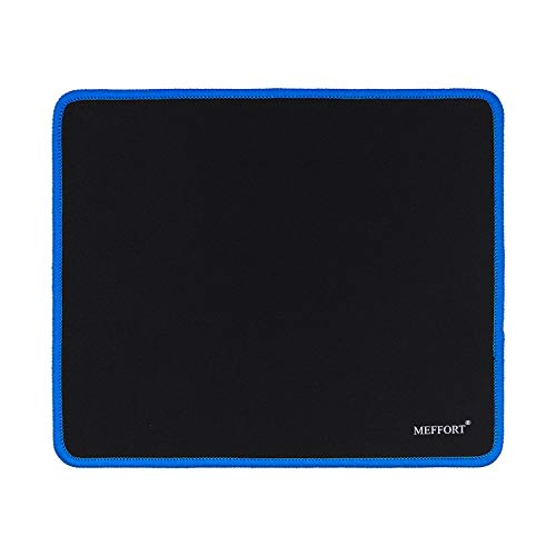 Meffort Inc Precise Gaming Mouse Pad Non-Slip Rubber Pads Stitched Edges Mousepad 9.5 x 7.9 inches - Black with Blue Edges