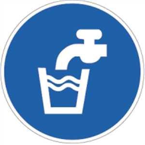 Aufkleber Trinkwasser Folie selbstklebend 10cm Ø (trinkbar, Gebotsschild) praxisbewährt, wetterfest