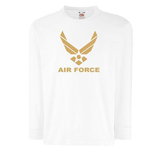 lepni.me Kinder-T-Shirt mit Langen Ärmeln United States Air Force (USAF) - U. S. Army, USA Armed Forces (12-13 Years Weiß Gold)