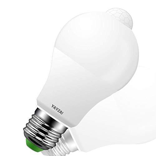 YAYZA! 2-Pack Premium Bombilla de Luz de Seguridad LED E27 10W con Sensor de Movimiento PIR incorporado, Bombilla con Sensor Fotocélula 1000lm 100W Equivalente 6000K Blanco Frío