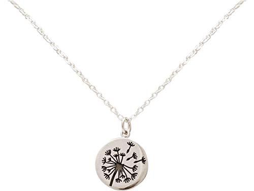 Gemshine Alpin Löwenzahn Pusteblume Halskette in 925 Silber, hochwertig vergoldet oder rose. Naturschmuck - Made in Madrid, Spain, Metall Farbe:Silber