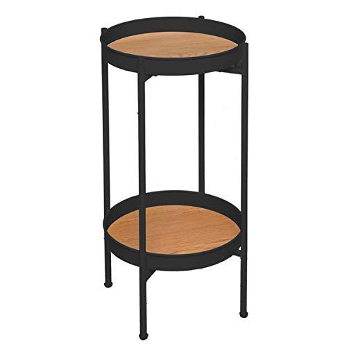 Vidal Regalos Tavolo ausiliare set 2 livelli metallo e legno nero 61 cm