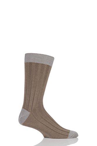 Herren 1 Paar SockShop von London 85prozent Kaschmir Kontrast Top Ferse & Spitze Gerippte Socken Camel/Silber 7-10