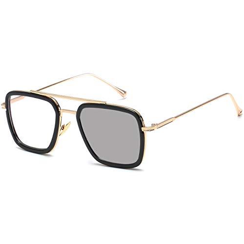 Gafas de sol estilo piloto retro, con montura de metal cuadrada, clásicas Downey Tony Stark, con lentes degradadas para hombres y mujeres, Blanco (Lente fotocromática con marco de oro C17.)