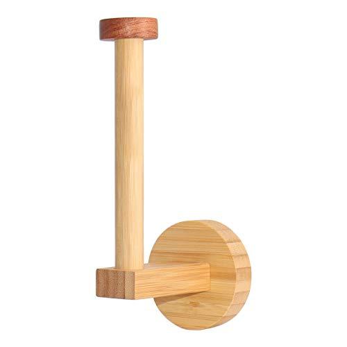 HONZUEN Porta Rollo de Papel Higienico Bambú, Portarrollos Para Papel Higiénico Adhesivo, Portarrollos Baño Bambu Ecológico Soporte Papel Higienico Sin Taladro para Baños y Cocinas, Redondo