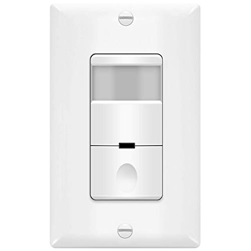 TOPGREENER Motion Sensor Light Switch, PIR Sensor Switch, Occupancy Sensor Light Switch, Motion Sensor Wall Switch, 500W 1/8HP, Neutral Wire Required, Single Pole, TDOS5, White