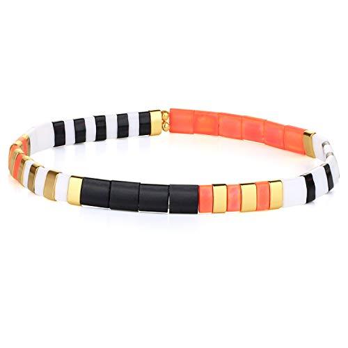 KELITCH Colorful Tila Beads Bracelets Miyuki Stackable Strand Stretch Bracelets Mixed Friendship Bracelets - 9N