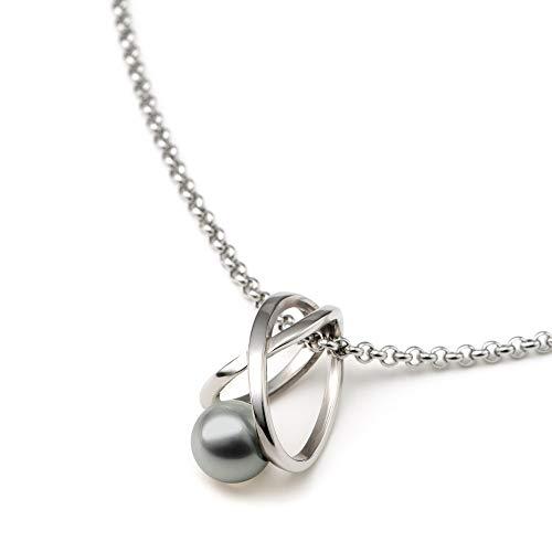 Heideman Halskette Damen Facilis aus Edelstahl Silber farbend poliert Kette für Frauen mit Swarovski Weiss Perlenkette mit Anhänger Brautschmuck Light Grey Gr. ha23671-3-15-45