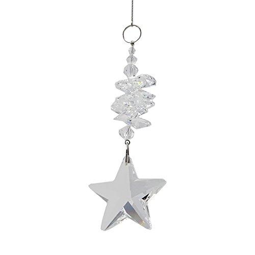 Christoph Palme Leuchten Set Ventana de Cristal Estrella 56cm de Largo con Cristales de koppen y Piedras de Cristal móvil Arco Iris Cristal Feng Shui Decoración de Navidad Cristal