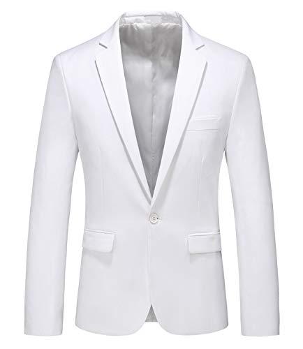 MOGU Giacca Uomo Elegante Blazer Vestito Abito Uomo Slim Fit Aderente Cappotto Casual Monopetto Un Bottone per Cerimonia Business Matrimonio Festa IT M (Asian XL) Bianca