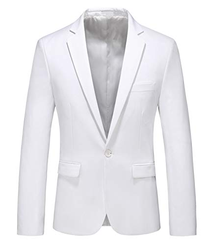 MOGU Mens Slim Fit One Button Casual Blazer Jacket US Size 42 (Label Asian Size 5XL) White