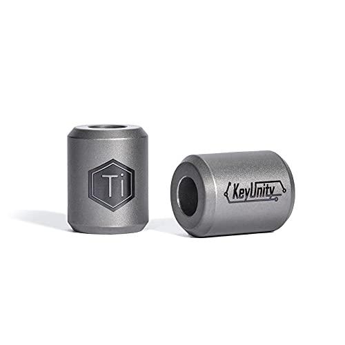 KeyUnity KA01 - Cuentas de titanio paracord - 2 piezas de cuentas para cuchillos, accesorios EDC para exteriores, para pulsera, collar, mini linterna, mochila, llavero, plateado