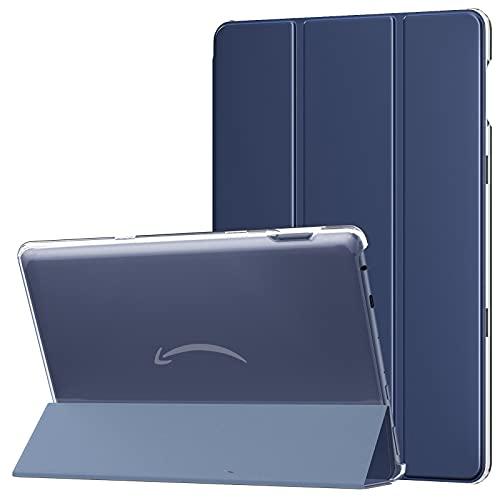 MoKo Hülle Kompatibel mit All-New Kindle Fire HD 10 und 10 Plus Tablet (11. Generation 2021), Schutzhülle Transluzent Rücken Deckel Schutzhülle mit Auto Schlaf/Wach Funktion, Dunkelblau