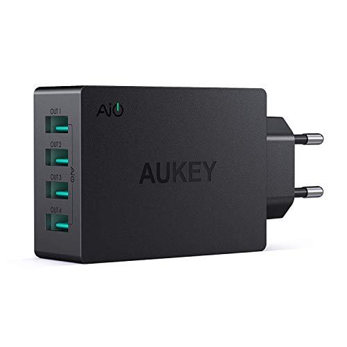 AUKEY Chargeur Secteur USB 4 Ports USB 5V 8A Chargeur Voyage pour iPhone XS / XS Max / XR, iPad Air / Pro, Samsung, LG, HTC et autres