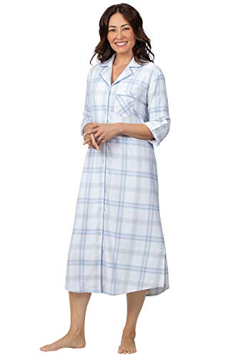 Addison Meadow Flannel Nightgowns for Women - Long, Blue Plaid, XL, 16