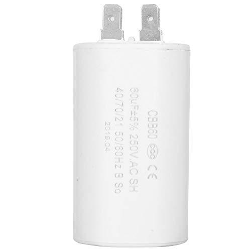 CBB60-Laufkondensator, zylinderförmiger Laufkondensator AC 250 V 60 uF 50/60 Hz, Kondensator zum Starten von Wechselstrommotoren mit einer Frequenz von 50 Hz/60 Hz, z. B. Waschmaschine/Klimaanlagen/Ko