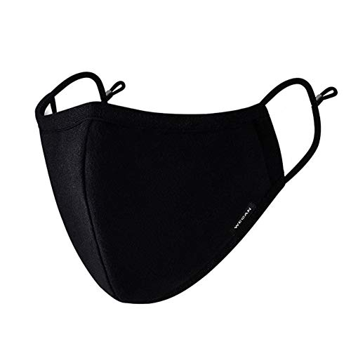 Face Mask with 2 Filters, Anti Dust Anti-Haze Cotton Mask Breathable Balaclavas for Cycling Camping Running Travel Black